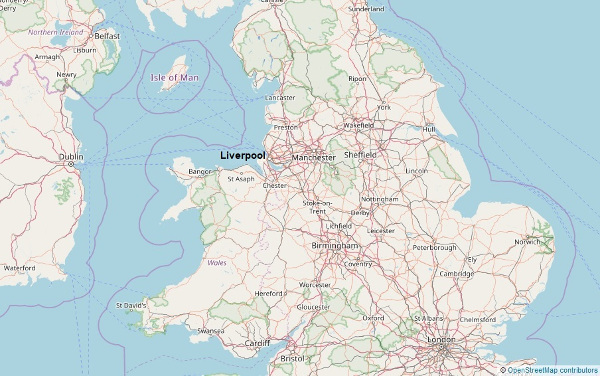 Location of Liverpool in the Northwest of England