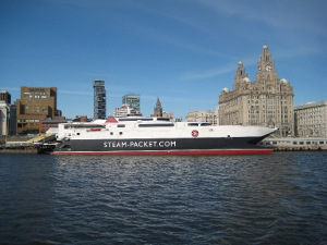 Isle of Man catamaran at the Pier Head