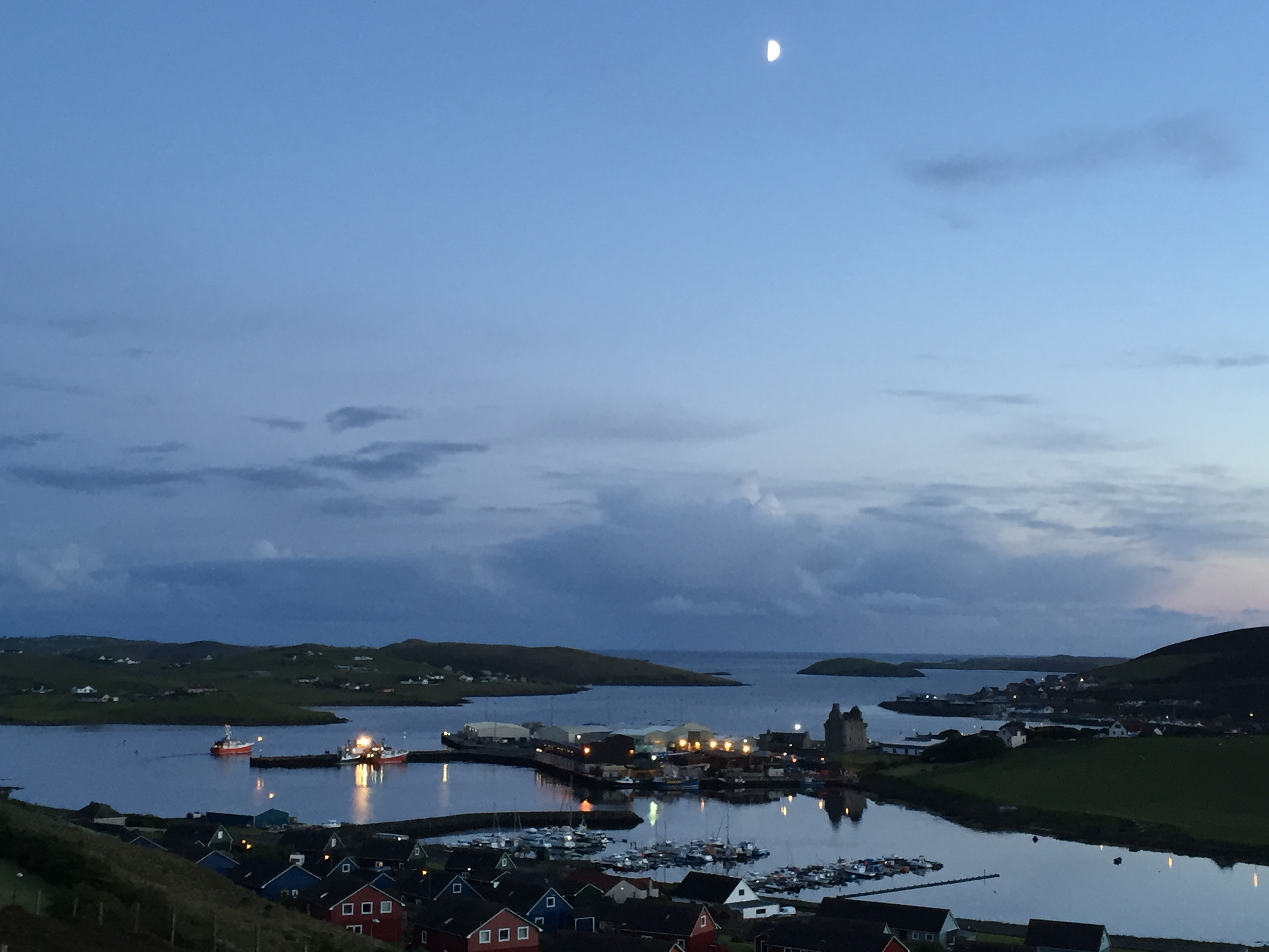 Scalloway seen at 11 o clock at night