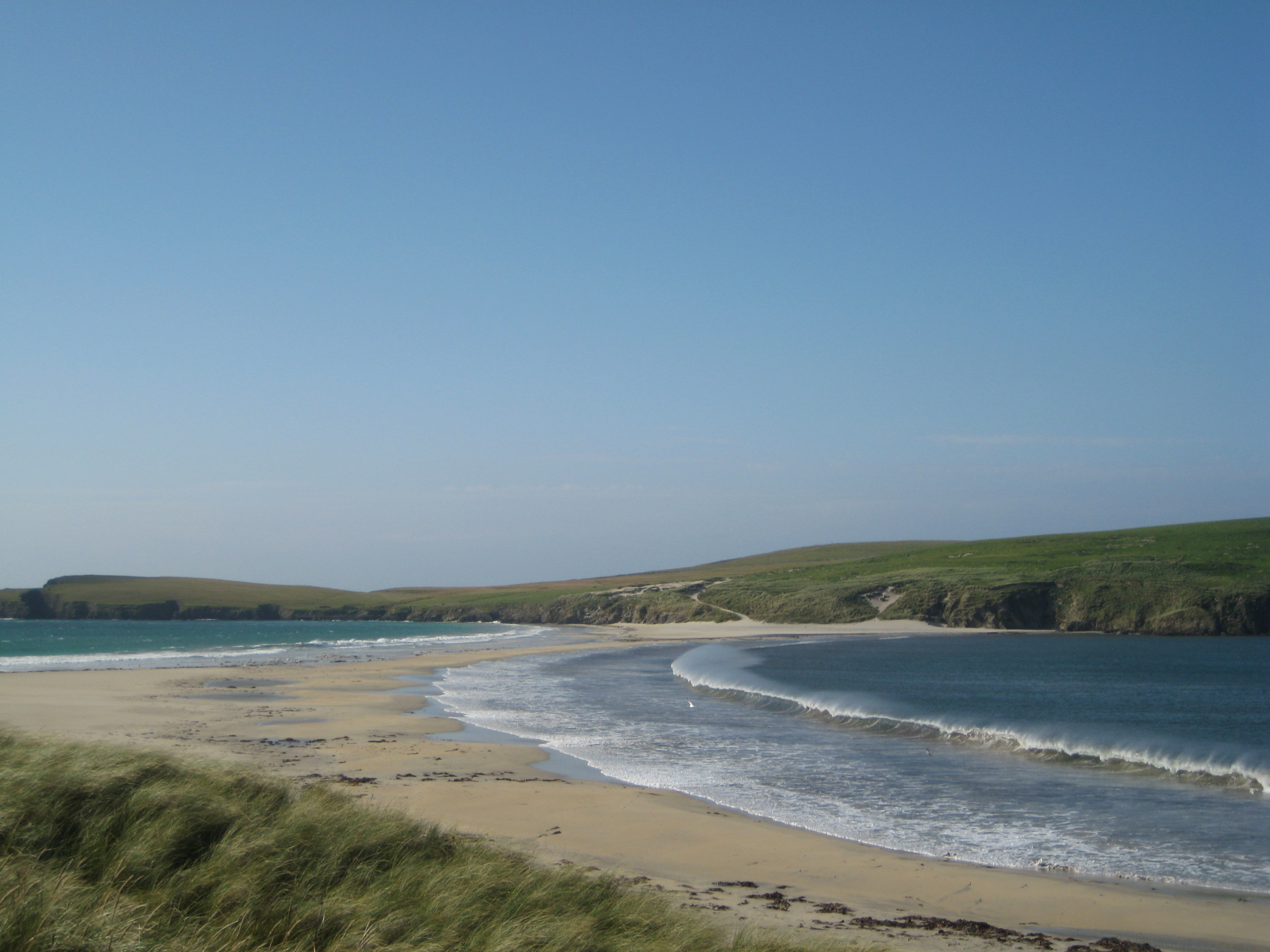 The tombola to St Ninian's Isle on a windy day